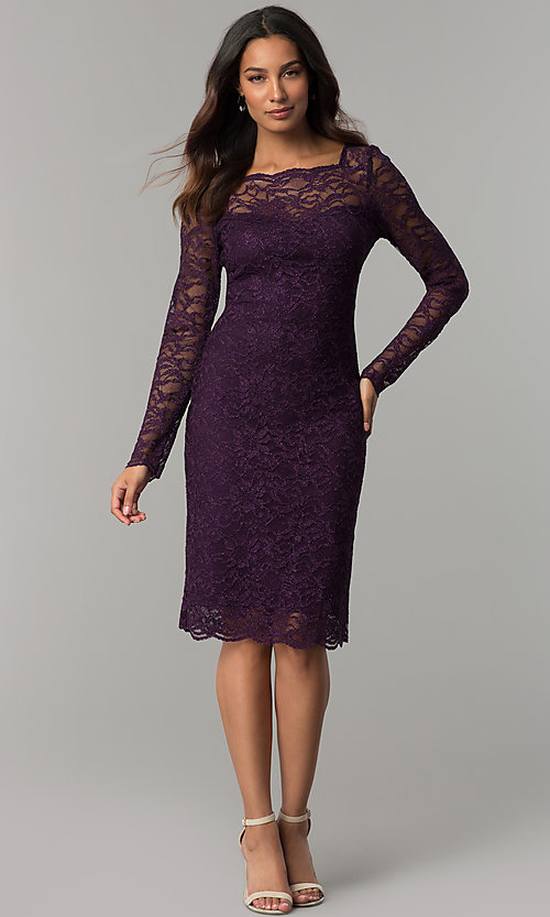 Image of long-sleeve glitter-lace short wedding-guest dress. Style: JU-ON-649829 Detail Image 2