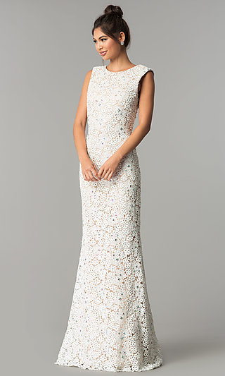 Ivory Long Lace Prom Dress with Open-Back