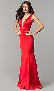 Image of long satin v-neck form-fitting open-back prom dress. Style: SSD-AB4141 Front Image