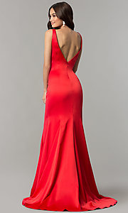 Image of long satin v-neck form-fitting open-back prom dress. Style: SSD-AB4141 Back Image