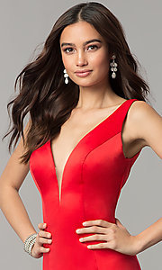 Image of long satin v-neck form-fitting open-back prom dress. Style: SSD-AB4141 Detail Image 1