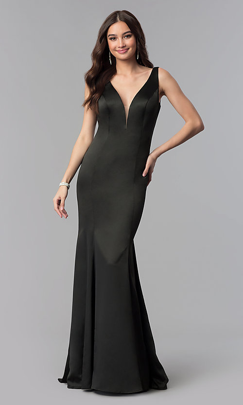 Image of long satin v-neck form-fitting open-back prom dress. Style: SSD-AB4141 Detail Image 2