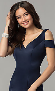 Image of cold-shoulder v-neck long satin prom dress with train. Style: SSD-AB3467 Detail Image 1