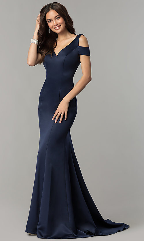 Image of cold-shoulder v-neck long satin prom dress with train. Style: SSD-AB3467 Front Image