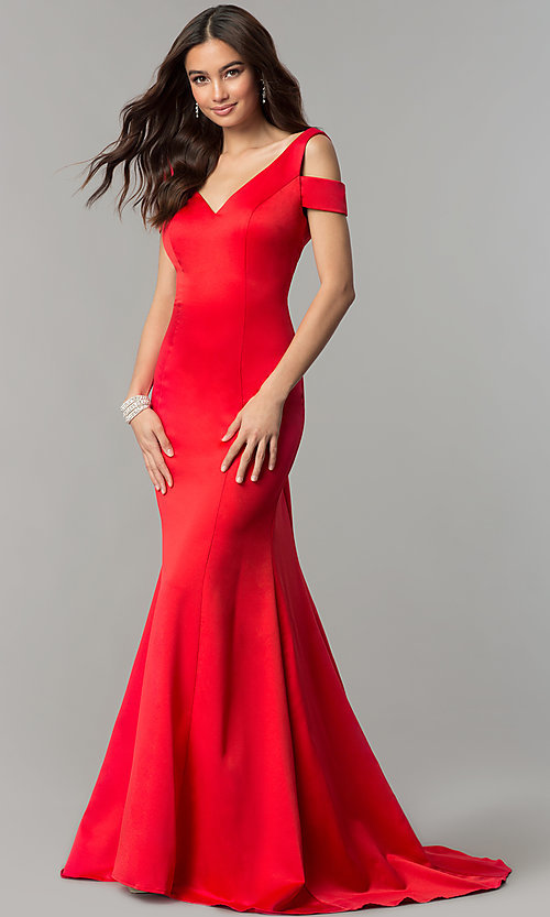 Image of cold-shoulder v-neck long satin prom dress with train. Style: SSD-AB3467 Detail Image 3