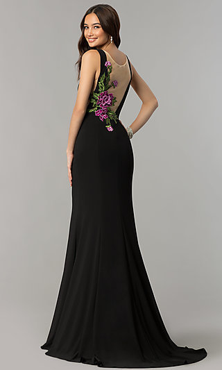 Long Black Prom Dress with Embroidered-Illusion Back