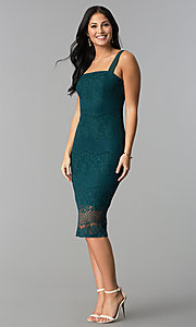 Image of knee-length lace party dress with square neckline. Style: JTM-JMD7922 Detail Image 3
