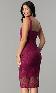 Image of knee-length lace party dress with square neckline. Style: JTM-JMD7922 Back Image