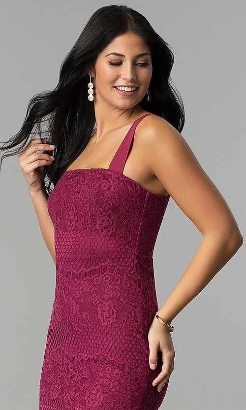Image of knee-length lace party dress with square neckline. Style: JTM-JMD7922 Detail Image 1