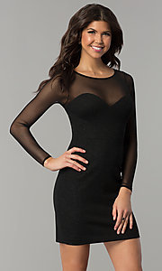 Image of short little black dress with long sheer sleeves. Style: DMO-J319297 Front Image