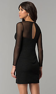 Image of short little black dress with long sheer sleeves. Style: DMO-J319297 Back Image