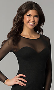Image of short little black dress with long sheer sleeves. Style: DMO-J319297 Detail Image 1