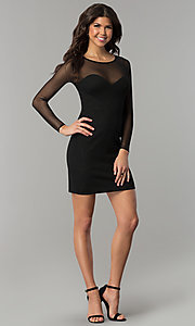 Image of short little black dress with long sheer sleeves. Style: DMO-J319297 Detail Image 2