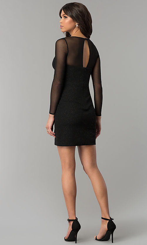 Image of short little black dress with long sheer sleeves. Style: DMO-J319297 Detail Image 3