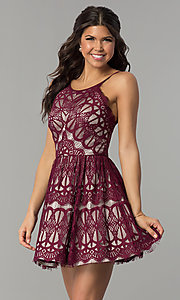 Image of short burgundy red lace party dress with nude lining. Style: DMO-J320387 Front Image