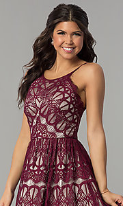 Image of short burgundy red lace party dress with nude lining. Style: DMO-J320387 Detail Image 1