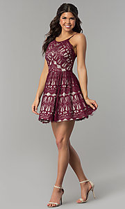 Image of short burgundy red lace party dress with nude lining. Style: DMO-J320387 Detail Image 2