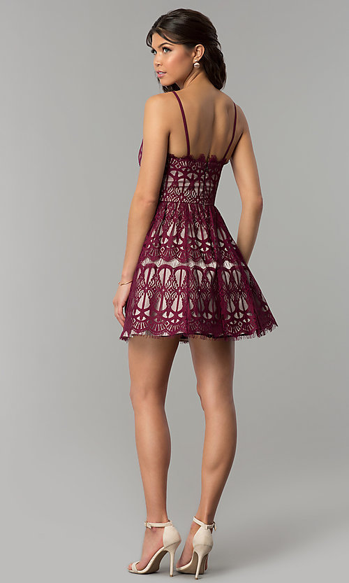 Image of short burgundy red lace party dress with nude lining. Style: DMO-J320387 Detail Image 3