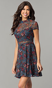 Image of short navy sheer-lace party dress with floral print. Style: MY-4881LD1D Front Image