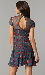 Image of short navy sheer-lace party dress with floral print. Style: MY-4881LD1D Back Image