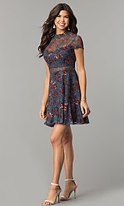 Image of short navy sheer-lace party dress with floral print. Style: MY-4881LD1D Detail Image 2