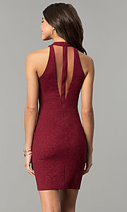 Image of short holiday red party dress with illusion v-neck. Style: MY-4779OX1C Back Image