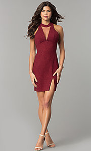 Image of short holiday red party dress with illusion v-neck. Style: MY-4779OX1C Detail Image 3