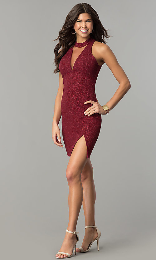 Image of short holiday red party dress with illusion v-neck. Style: MY-4779OX1C Detail Image 1