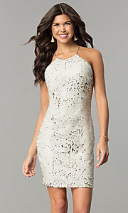 Short Reversible-Sequin Champagne Holiday Dress