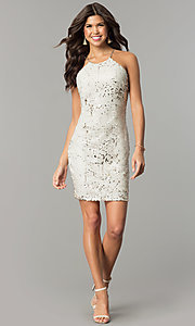 Image of short reversible-sequin champagne holiday dress. Style: MY-2559XD1C Detail Image 1