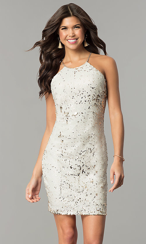 Image of short reversible-sequin champagne holiday dress. Style: MY-2559XD1C Front Image