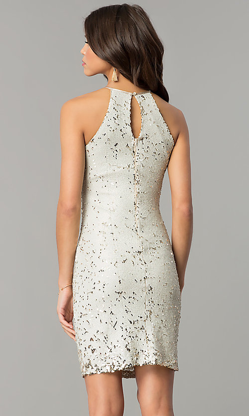 Image of short reversible-sequin champagne holiday dress. Style: MY-2559XD1C Back Image