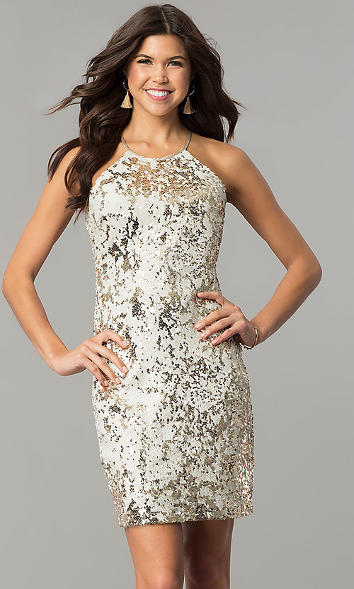 Image of short reversible-sequin champagne holiday dress. Style: MY-2559XD1C Detail Image 2