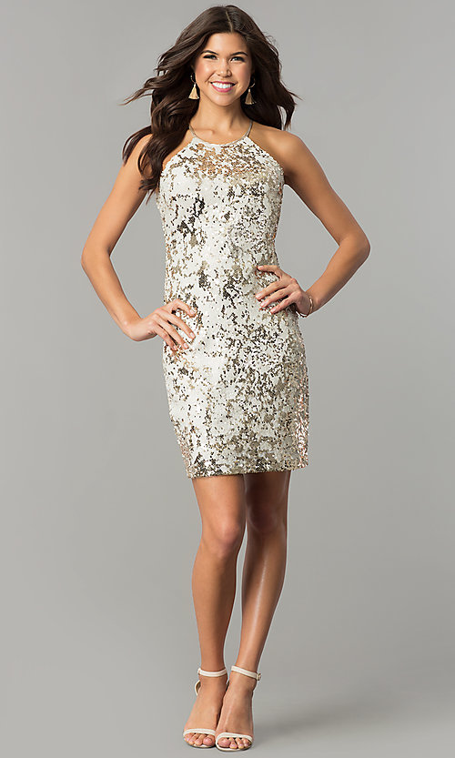 Image of short reversible-sequin champagne holiday dress. Style: MY-2559XD1C Detail Image 3