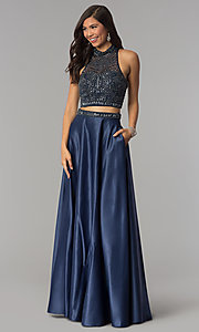 High-Neck Long Two-Piece Prom Dress