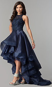 Image of high-low navy organza prom dress with lace bodice. Style: MF-E2350 Front Image