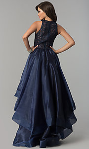 Image of high-low navy organza prom dress with lace bodice. Style: MF-E2350 Back Image