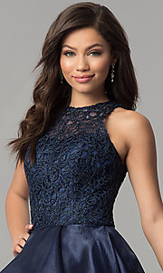 Image of high-low navy organza prom dress with lace bodice. Style: MF-E2350 Detail Image 1