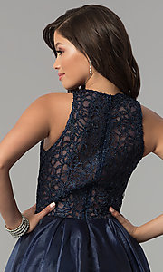 Image of high-low navy organza prom dress with lace bodice. Style: MF-E2350 Detail Image 2