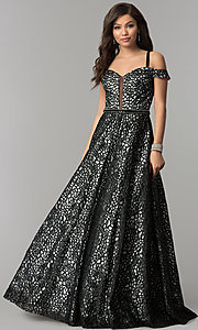 Embroidered Mesh Off-the-Shoulder Prom Dress