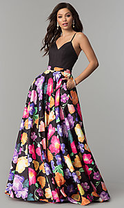 V-Neck Prom Dress with Floral Print Skirt