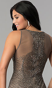 Image of short beaded-mesh homecoming dress. Style: MF-E2251 Detail Image 2