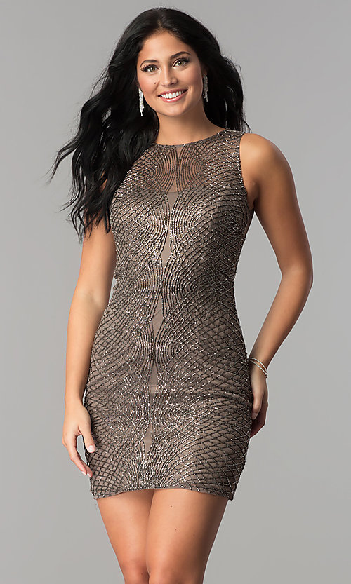 Image of short beaded-mesh homecoming dress. Style: MF-E2251 Front Image
