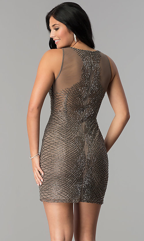 Image of short beaded-mesh homecoming dress. Style: MF-E2251 Back Image