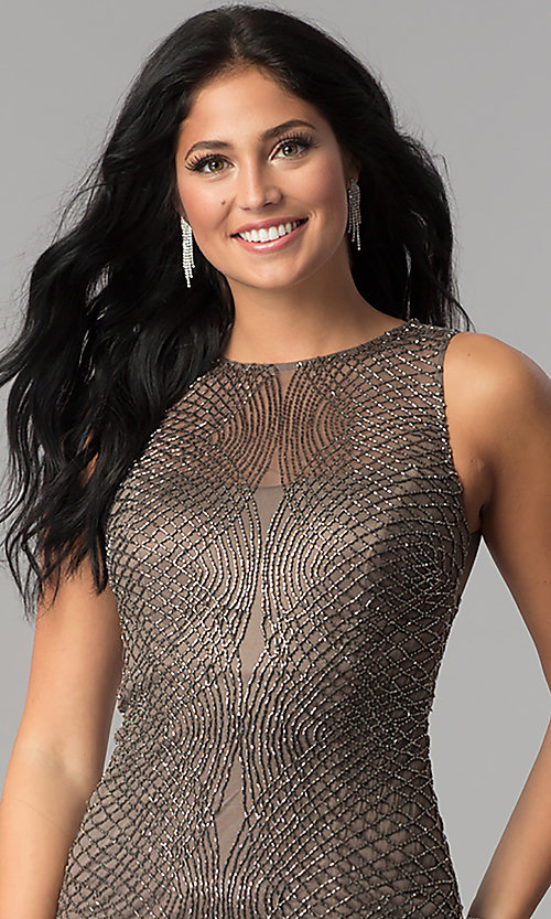 Image of short beaded-mesh homecoming dress. Style: MF-E2251 Detail Image 1
