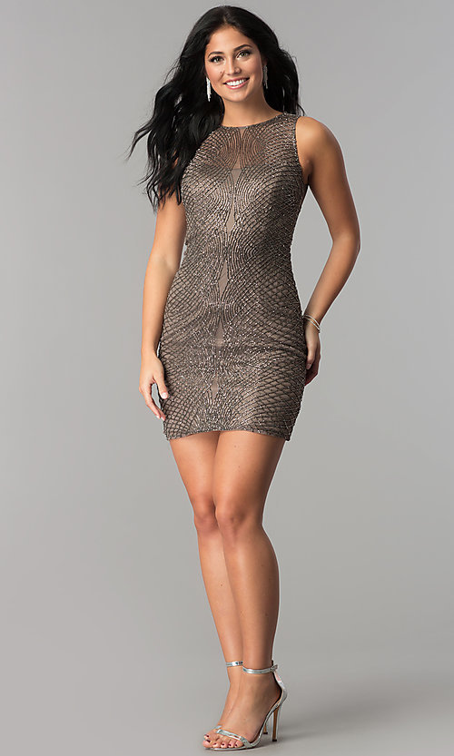 Image of short beaded-mesh homecoming dress. Style: MF-E2251 Detail Image 3