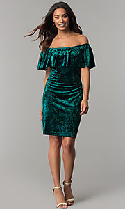 Image of off-shoulder hunter green velvet holiday party dress. Style: JU-TI-T0488B Detail Image 2