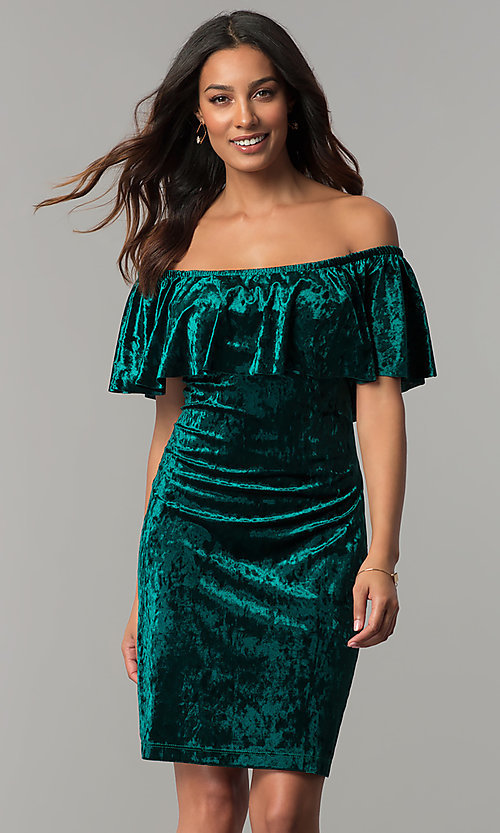 Image of off-shoulder hunter green velvet holiday party dress. Style: JU-TI-T0488B Front Image