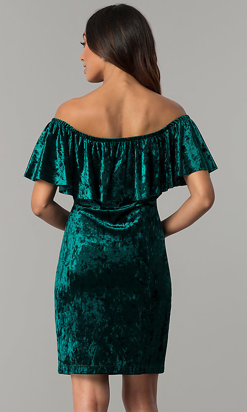 Image of off-shoulder hunter green velvet holiday party dress. Style: JU-TI-T0488B Back Image
