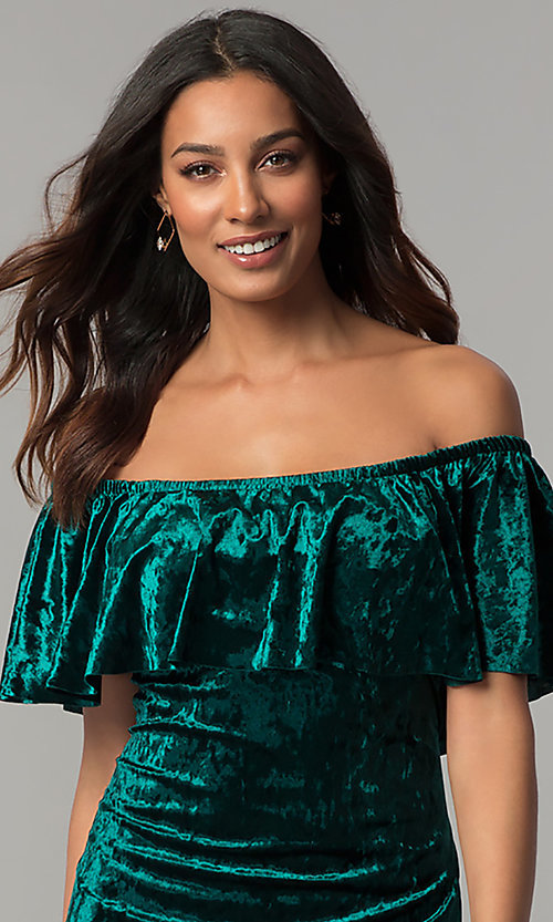 Image of off-shoulder hunter green velvet holiday party dress. Style: JU-TI-T0488B Detail Image 1